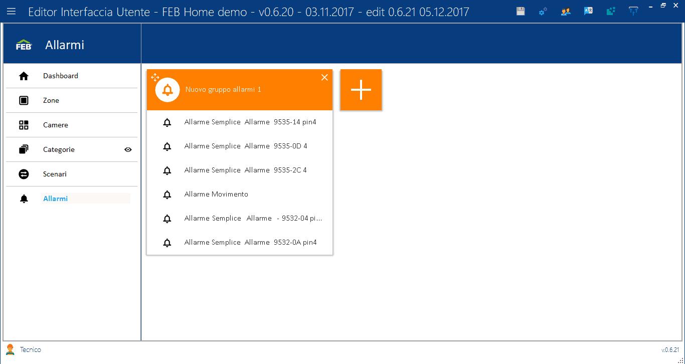 Allarmi - Editor Interfaccia Utente