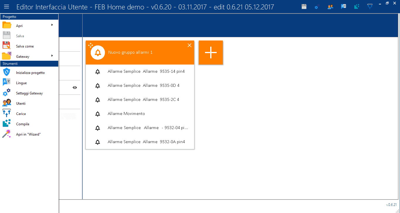 Menu - Editor Interfaccia Utente