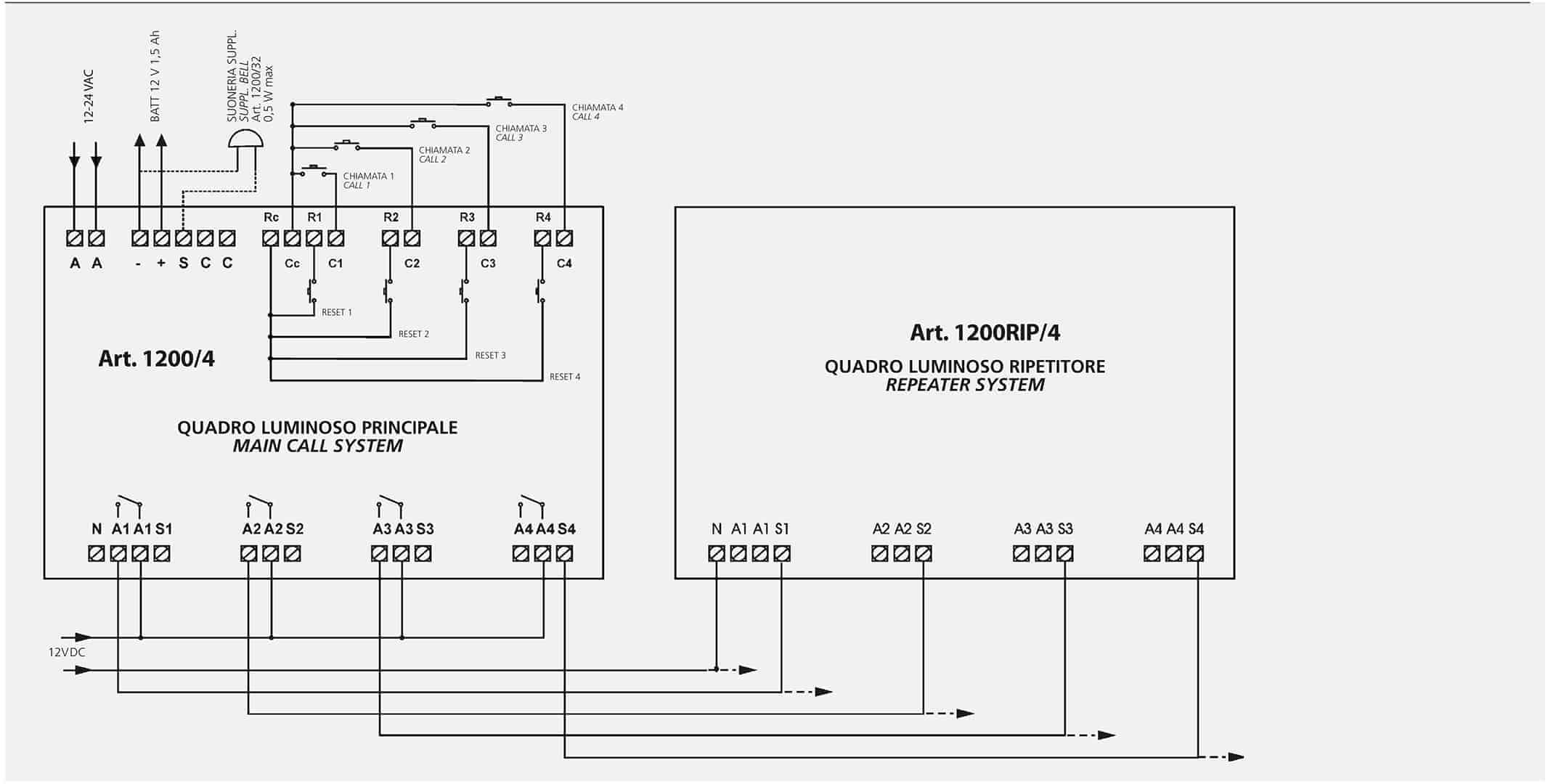 Schemi Elettrici Quadri : Schema collegamento quadro a led a due o piu quadri ripetitori