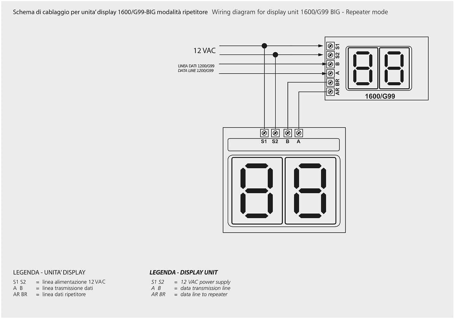 Schema Di Cablaggio : Schema di cablaggio per unita display g big modalita
