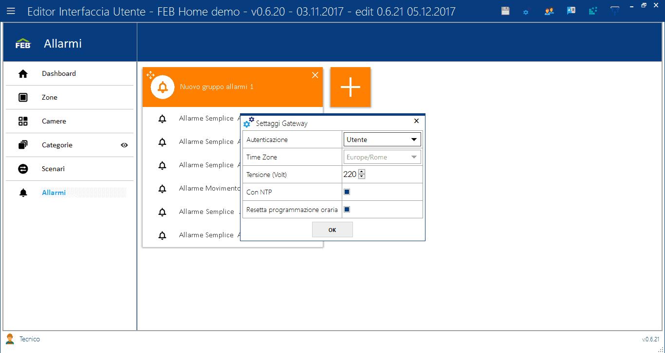 Settaggi Gateway - Editor Interfaccia Utente