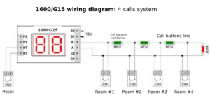 Wiring diagram 1600/G15 with 4 calls